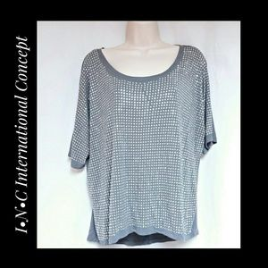 INC International Concepts Gray Bling Top  Sze L